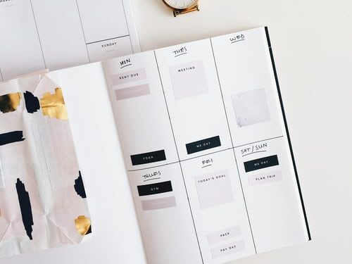 A weekly planner to describe how planning your goals can lead to a successful blog.