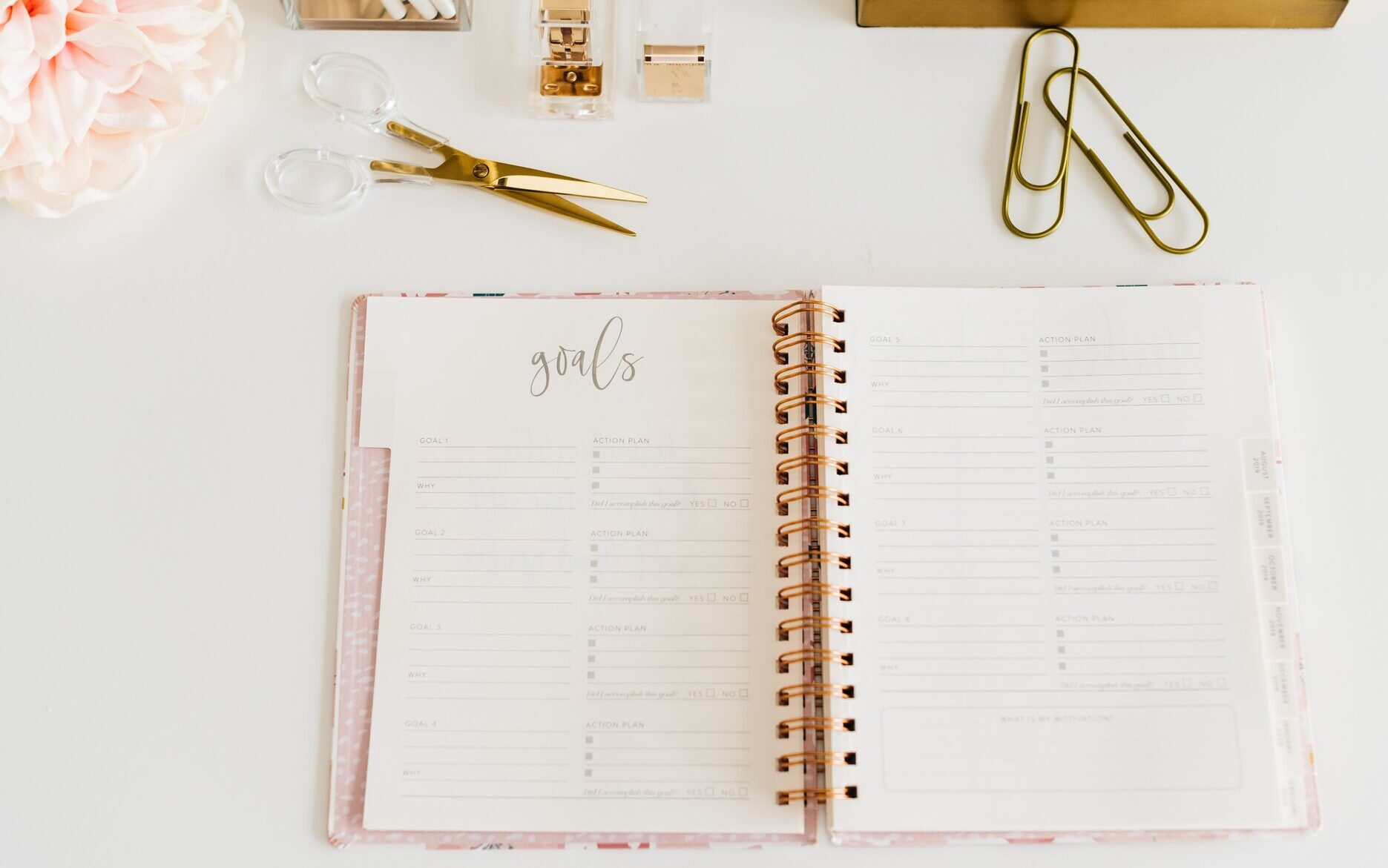 monthly goals, personal goal setting, planner