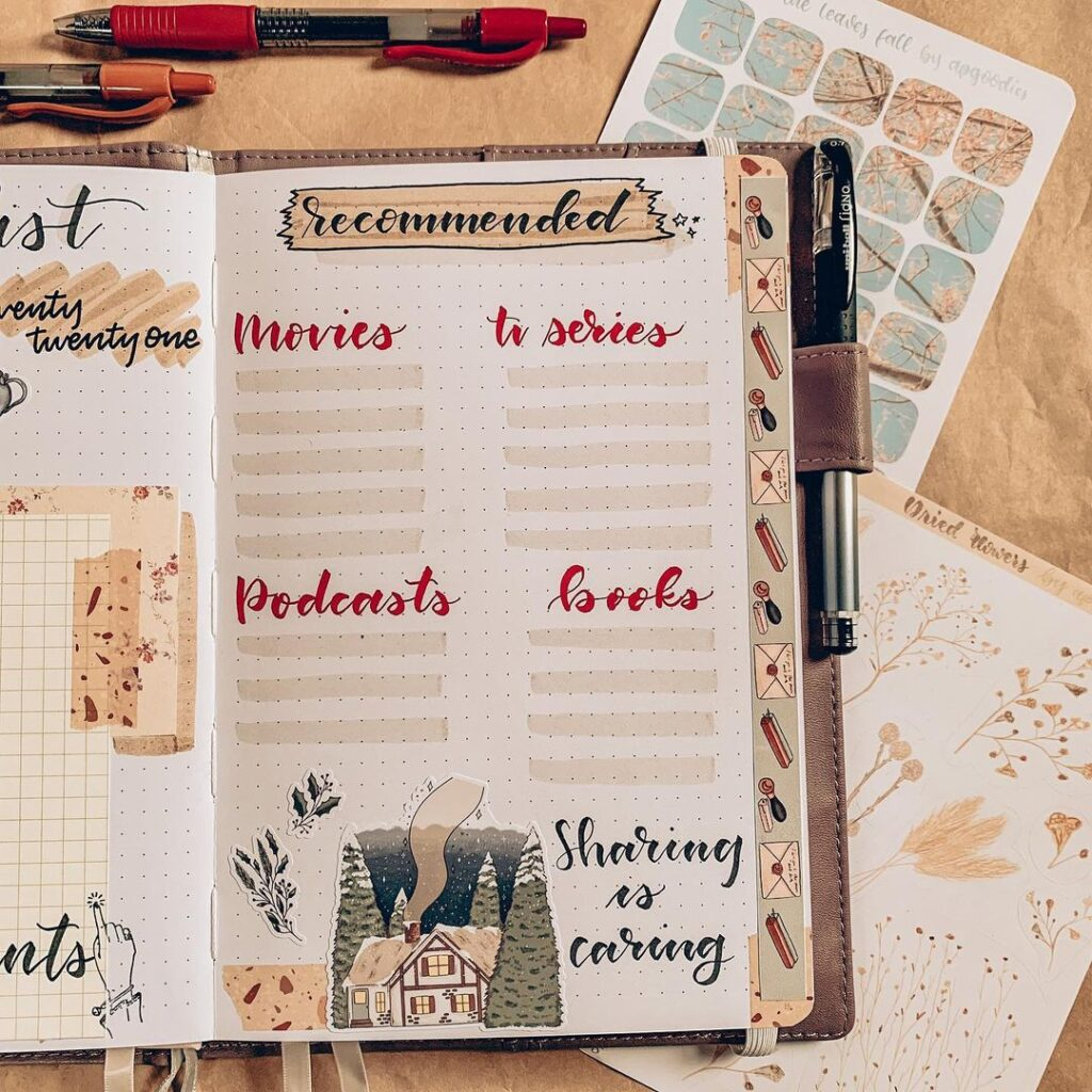 bullet journal page ideas, lists