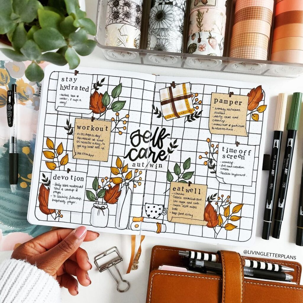 bullet journal collections, self care